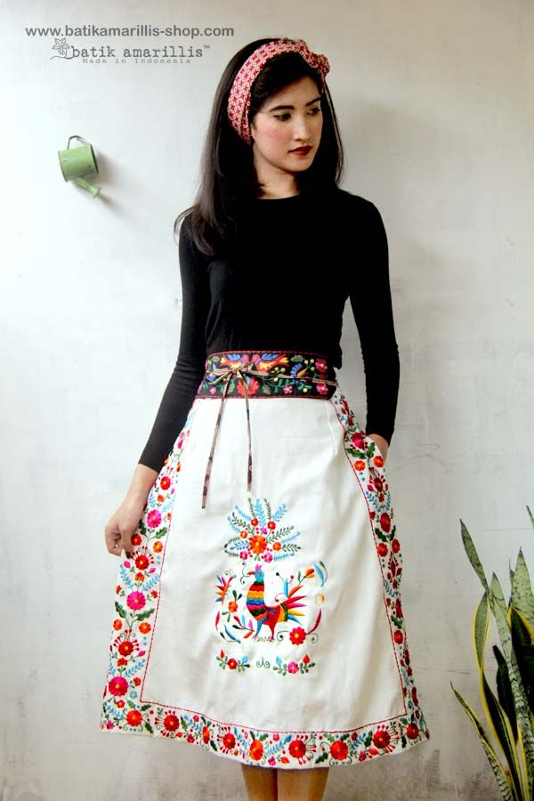 <3 Batik Amarillis's Mexican embroidery  Jacket & skirt <3  ...Indonesia's traditional textile meets Mexican embroidery we love combining Mexican 's bold and beautiful embroidery with Indonesia's traditional textiles such as Batik and ikat.