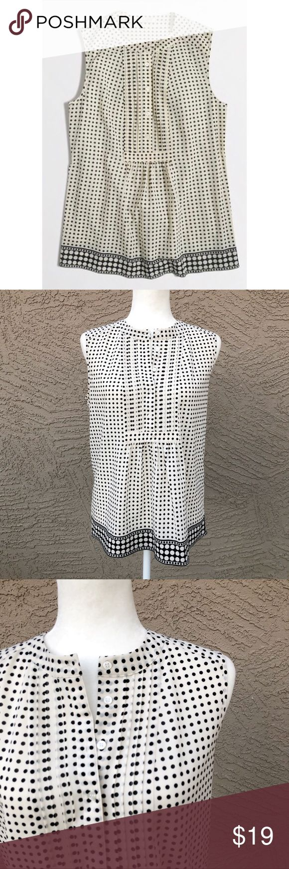 """J. CREW Polka Dot Printed Tuxedo Cami Top Cream & black polka dot printed sleeveless blouse with partial button down & gathered front detail. Size 6 (small). Small mark on the bottom back as shown in photo. Pit to Pit: 19.5"""", Length: 24"""". ✨PFFERS WELCOME✨ J. Crew Tops"""