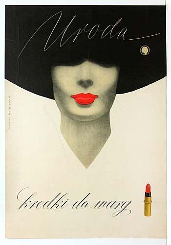 Uroda kredki do wary Elegant Polish advertising poster for Uroda lipstick. I have seen very few Polish advertising posters