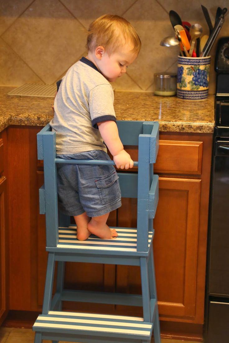 E checking out his new stool: How sturdy is this dowel? Can I sit on it??    In the past few weeks, E has decided that he wants to be fron...