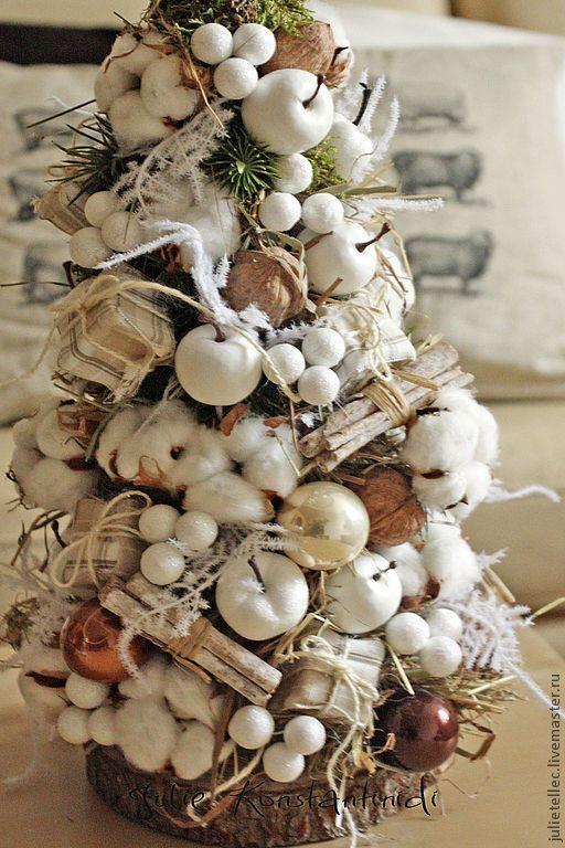 Купить Елочка из хлопка - бежевый, настольная елка, хлопок, новый год 2014, оригинальная елка, подарок
