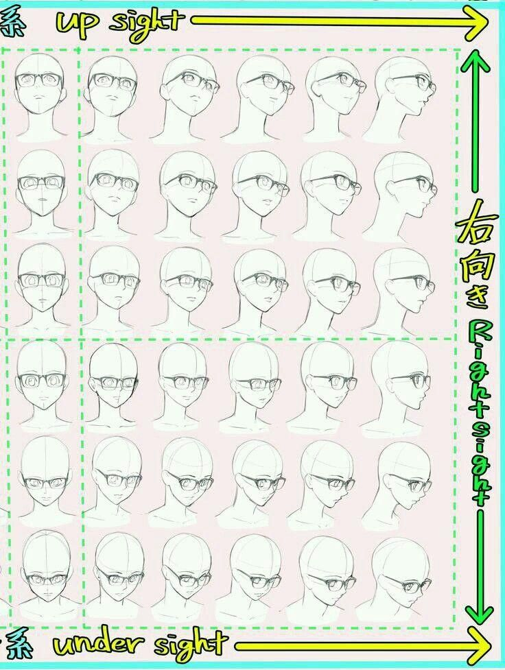 Glasses Perspective Face Head Anatomy Tutorial Reference Howtodrawanime How To Draw Anime Cara Menggambar Sketsa Referensi Gambar