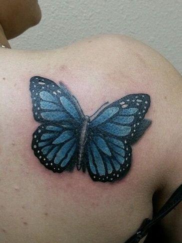 Blue Butterfly Tattoo On Shoulder blue monarch butterfly ...