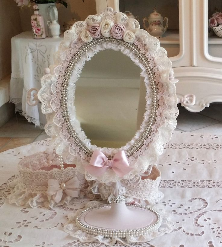 r serv ancien miroir psych en bronze shabby chic patine rose poudr perles strass et. Black Bedroom Furniture Sets. Home Design Ideas