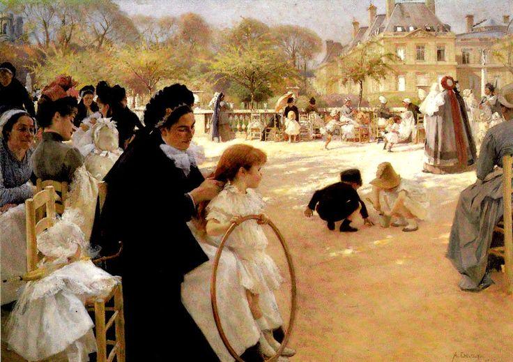 Kuva albumissa ALBERT EDELFELT - Google Kuvat. AE - 13    Pariisin Luxembourgin puistosta 1887, Ateneumin Taidemuseo.