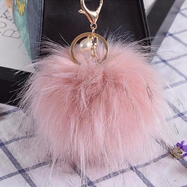 "Artificial Fur Bag Charm (3.93"")"