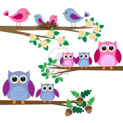 I gufi e gli uccelli seduti sui rami. Archivio Fotografico - 13778755