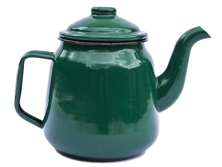 Large Enamel Teapot in Green
