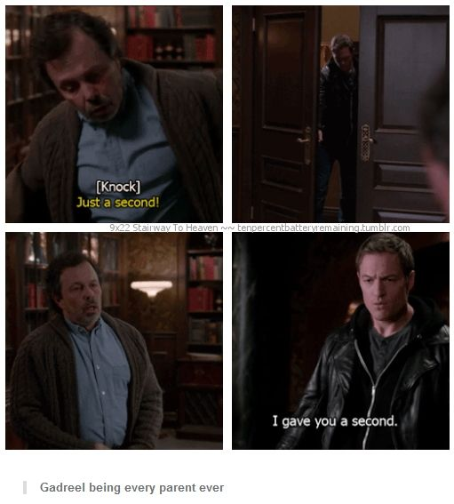 9x22 Stairway To Heaven [gifset] - You're such an angel sometimes. - Metatron, Gadreel, Supernatural