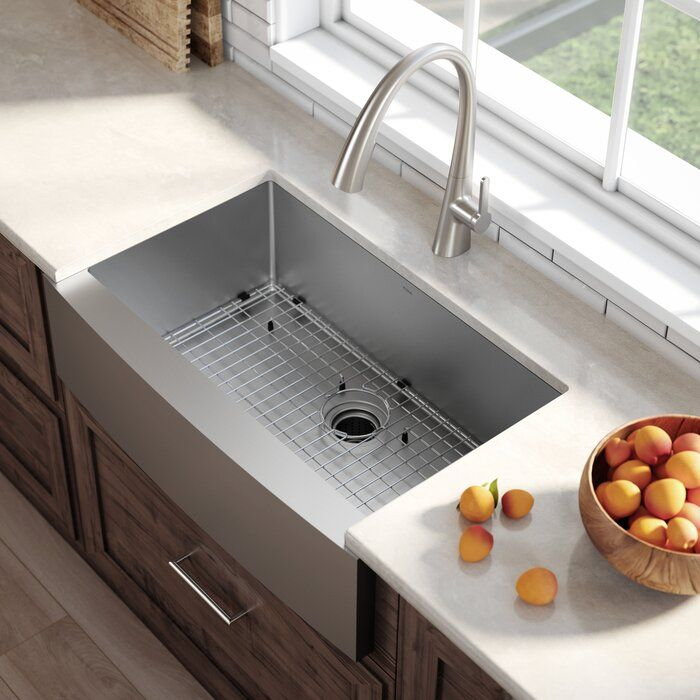 Standart Pro Farmhouse Flat Apron Front Single Bowl Stainless Steel 36 L X 21 W Kitchen Sink With Basket Strainer In 2020 Farmhouse Sink Kitchen Apron Sink Kitchen Farmhouse Apron Kitchen Sinks