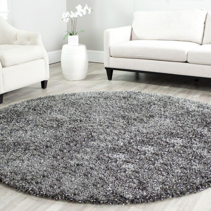 safavieh handmade malibu charcoal grey shag rug 7u0027 round overstock shopping