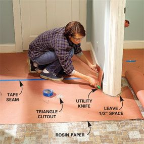Use the template method and good floor preparation to put down new vinyl flooring.