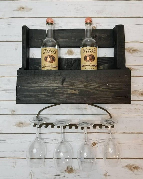 Amazing Farmhouse/ Country Decor! Custom Made by Project Hubby Rustic Wine Rack W/ Rake . Check out Etsy Shop now.