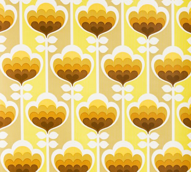RETRO TAPET BLOMSTER GRAFISK by kirsten
