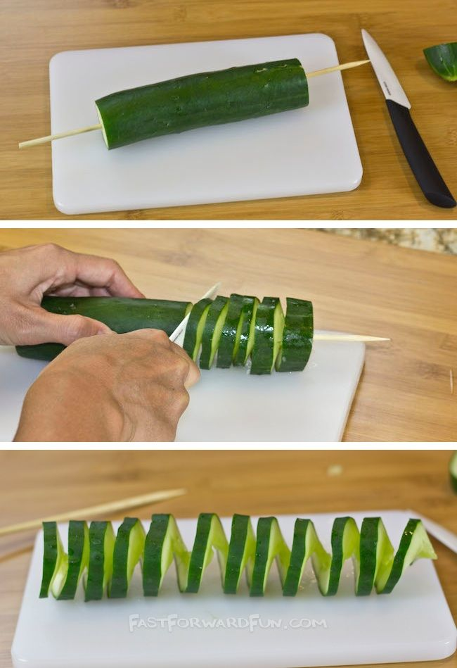 WOW! I love this site! 3 Super Fun and Easy Ways To Cut a Cucumber (short video tutorial) | Fast Forward Fun