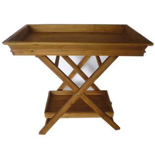 Foldable Wooden Butler's tray with stand. I like that it has double shelves