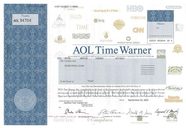 AOL Time Warner - #scripomarket #scriposigns #scripofilia #scripophily #finanza #finance #collezionismo #collectibles #arte #art #scripoart #scripoarte #borsa #stock #azioni #bonds #obbligazioni