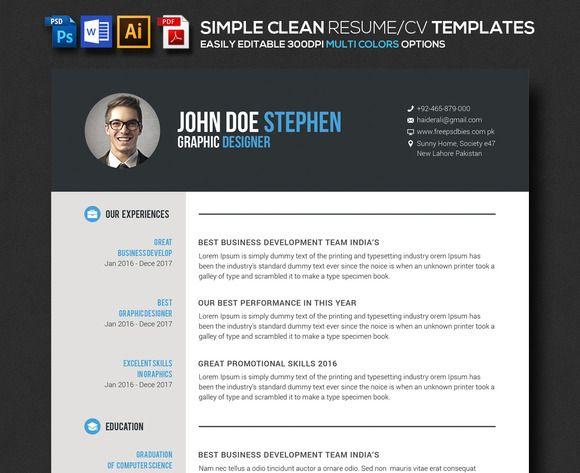 Simple Clean Word Resume CV @creativework247 Resume Help - free resume printer