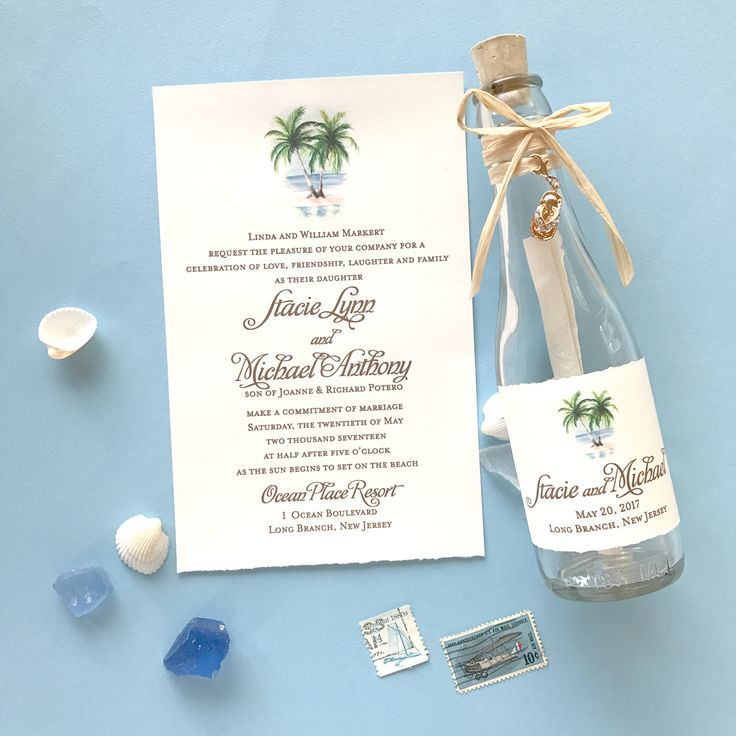 are labels on wedding invitations tacky%0A Custom beach wedding invitations in a bottle by artist Michelle Mospens     Mospens Studio