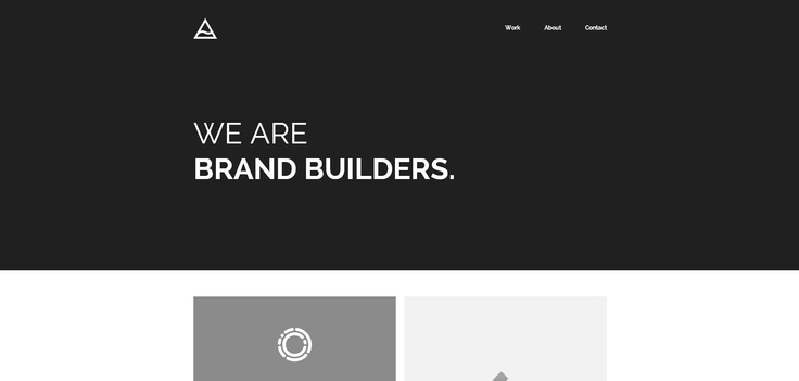 Darker palette; no image, just words to describe services in a simple, clear, bold manner. Nice clean layout.