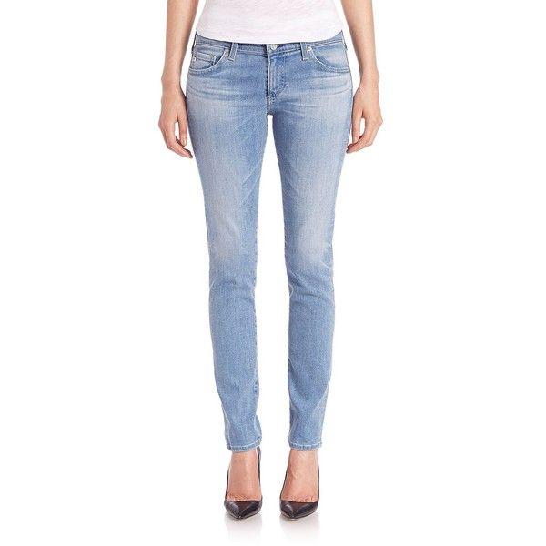 AG Stilt Cigarette Jeans (210 BRL) ❤ liked on Polyvore featuring jeans, apparel & accessories, twenty year, cut skinny jeans, zipper skinny jeans, light wash skinny jeans, zipper jeans and cigarette jeans