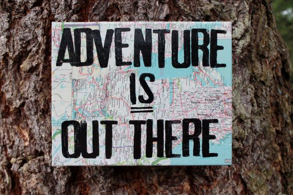 """8x10 """"Adventure is out there"""" vintage map quote canvas from the Movie """"Up"""" on Etsy, $28.00"""