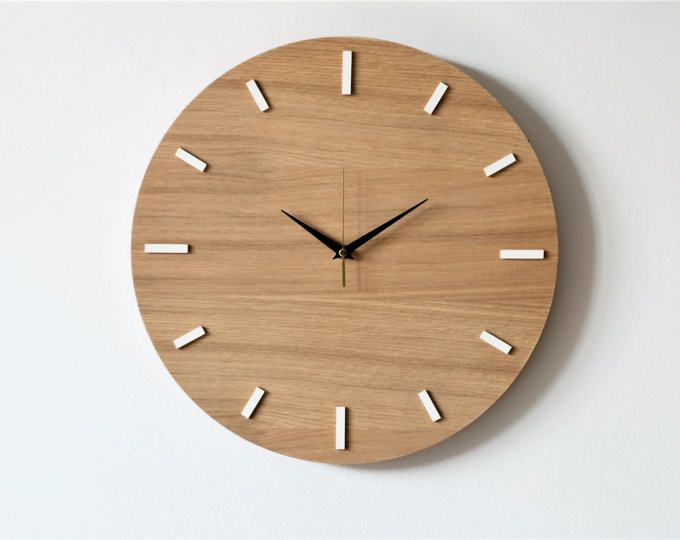 15 7 40 Cm Oak Wall Clock Modern Clock Natural Wood Wooden Clock Wall Clock Wooden Wall Clock Modern Wooden Clock
