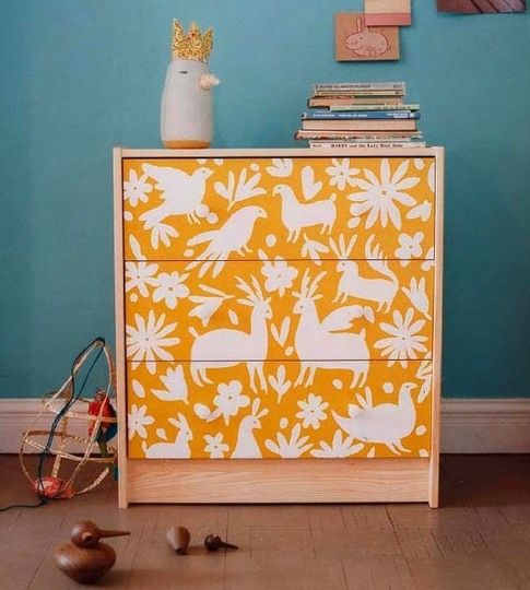 Ikea Rast dresser with stencil and paint
