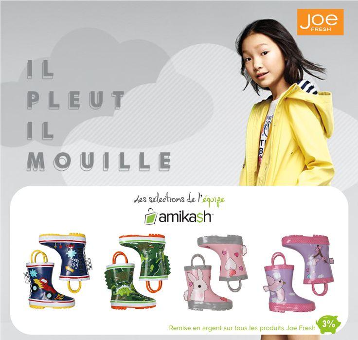 Mignonnes bottes de pluie Joe Fresh à 17$. Disponible via Amikash http://amikash.ca/marchands/joe-fresh