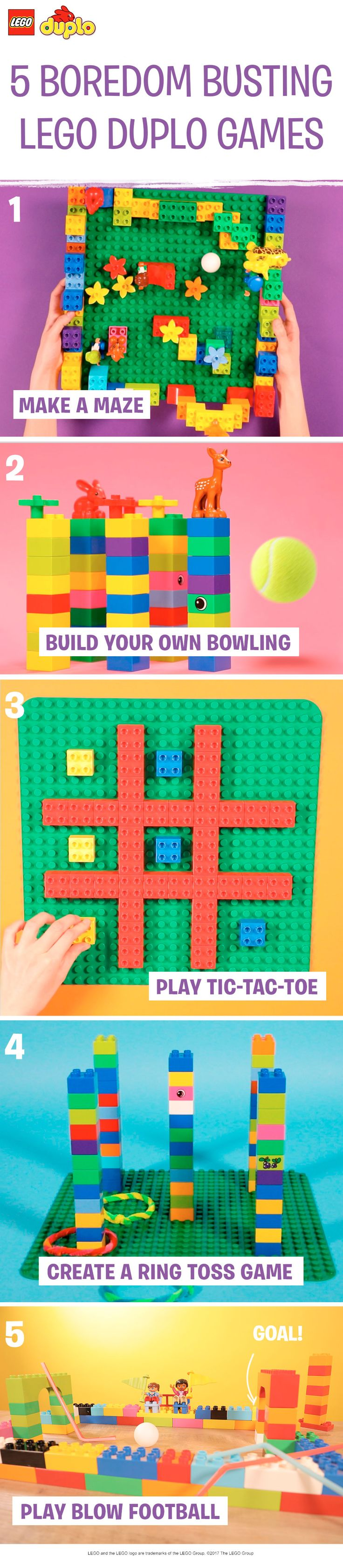 These LEGO DUPLO brick play activities are great boredom busting ideas for any rainy day – or even when it's too hot to go outside. Build a maze, play tic-tac-toe, get the whole family up and moving with a game of bowling or ring toss, and finish it all off with a competitive game of blow football. All you need are some LEGO DUPLO bricks and a few craft supplies for an afternoon of simple indoor fun. Why not make your own LEGO DUPLO championship and play all 5 activities together?