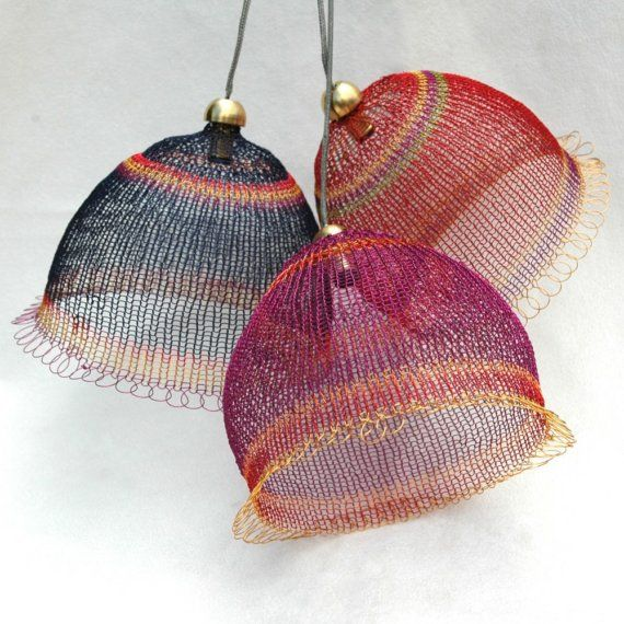Wire weaved Lampshade in warm colors by Yoola on Etsy,