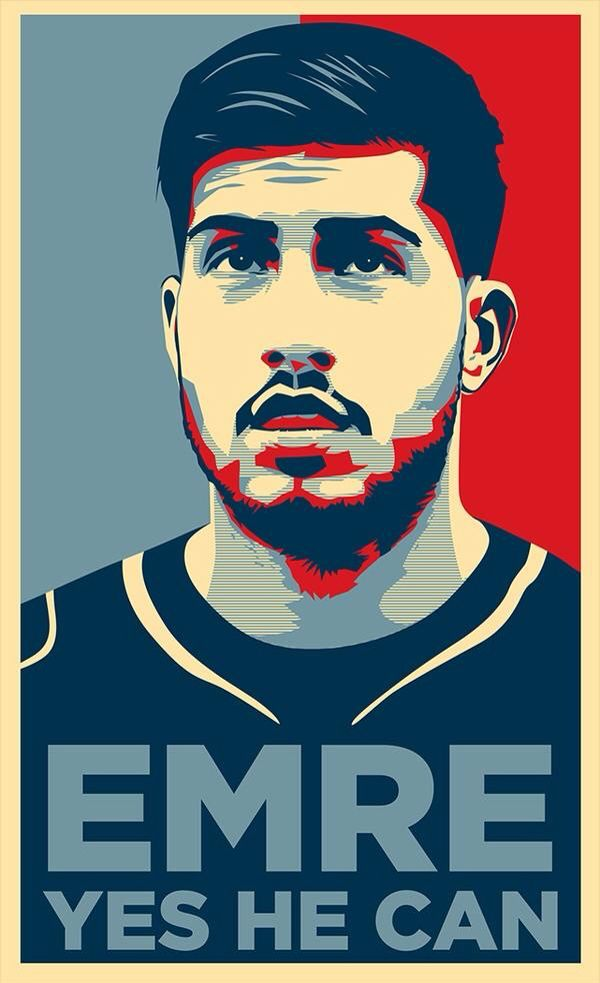 Emre Can design in the style of Shepard Fairey. Found on Twitter from @RedStarLvrpool