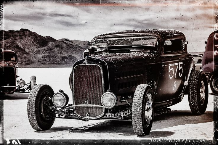 12x18 in Chopped Ford Racer, Garage Art Vintage Man Cave Black and White poster