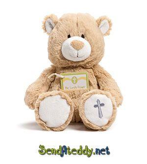 Super sweet Baby Teddy Bear with 3 prayer cards  (Lords Prayer, Mealtime Prayer and Bedtime Prayer). #sendateddy http://www.sendateddy.net/baby-gifts.php#!/Prayer-Card-Teddy-Bear/p/43838767/category=4307181