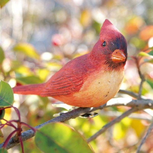小鳥クリップガーデンオーナメント -赤-  (置物 オーナメント 庭 かわいい 動物 オブジェ ガーデニング 飾り)|niwazakka