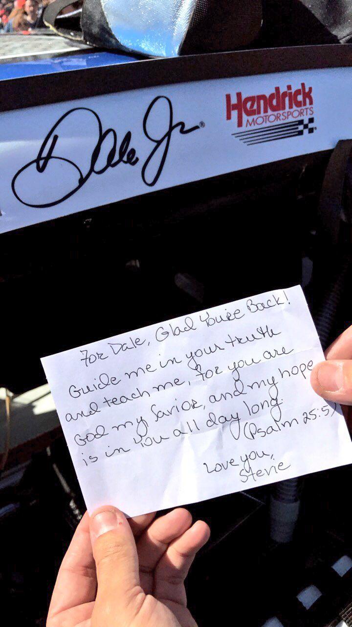 Dale Earnhardt Jr scripture before races by Daryl Waltrip's wife Stevie.