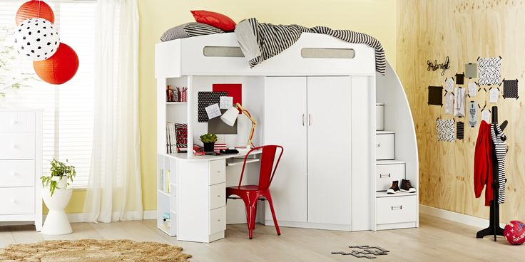 This ultimate study bunk ticks all the boxes! The Octavia is the perfect storage bunk and study desk combo, with the added benefit of hanging space and functional steps up to bed that double as practical storage drawers.