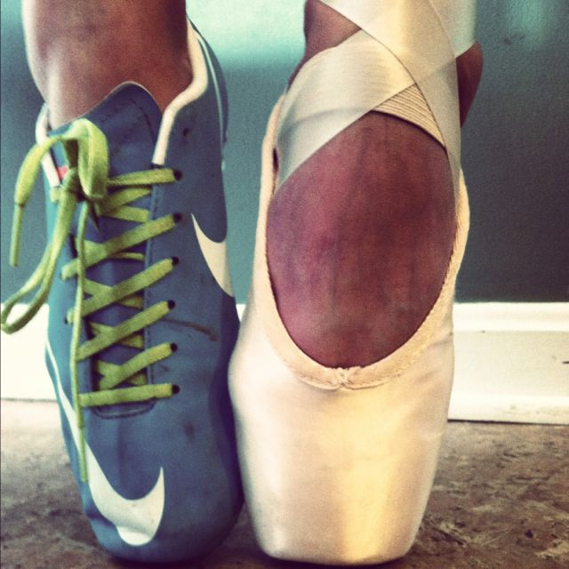 Soccer and ballet (Nike mercurials and Bloch balance)