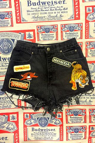 In The Dirt Vintage Patched Harley Davidson Jean Shorts