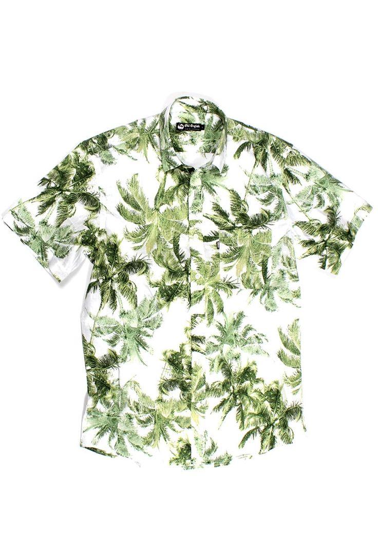 Camisa Florida masculina manga curta branca   Compra - KING55 Loja de roupas