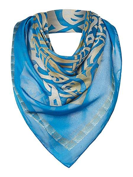 The chiffon logo square scarf is a lighter way to wear a Biba classic.