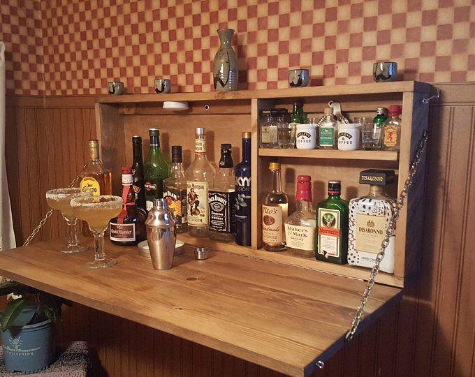 Rustic Murphy Bar Wall Mount Bar Man Cave Liquor Cabinet Etsy