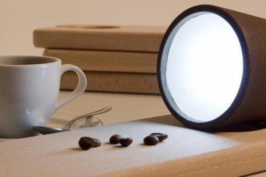 Decafe light made from recylced coffee grounds. I could totally start a factory of these.