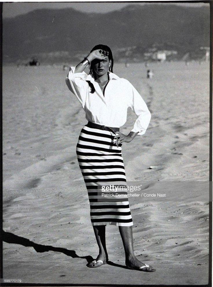 News Photo : Model, Tatjana Patitz, wearing a long fitted...