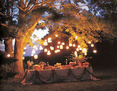 Lighting over the bar- different heights  Fireflies like Robin Hood
