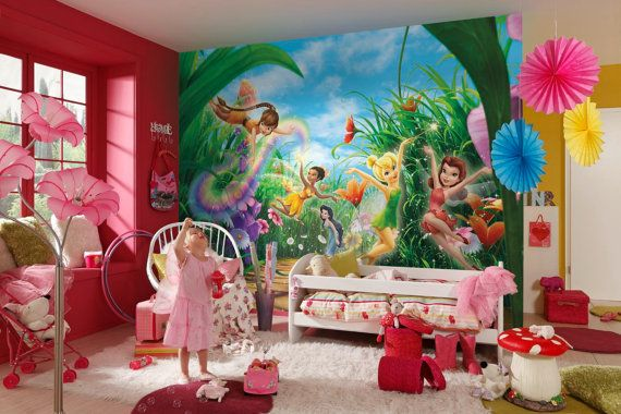 Photo wall mural photography wallpaper disney fairies by for Disney tinkerbell mural