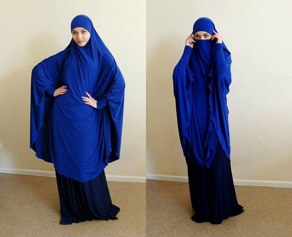 Transformer blue Khimar, niqab transformer,navy niqab, admiral nikab, traditional hijab,ready to wear hijab, long hijab,burqa, abaya