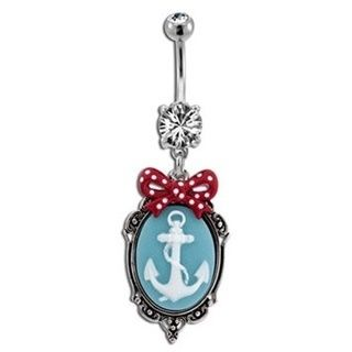 Red Polka Dot Bow & Anchor Cameo Belly Button Ring
