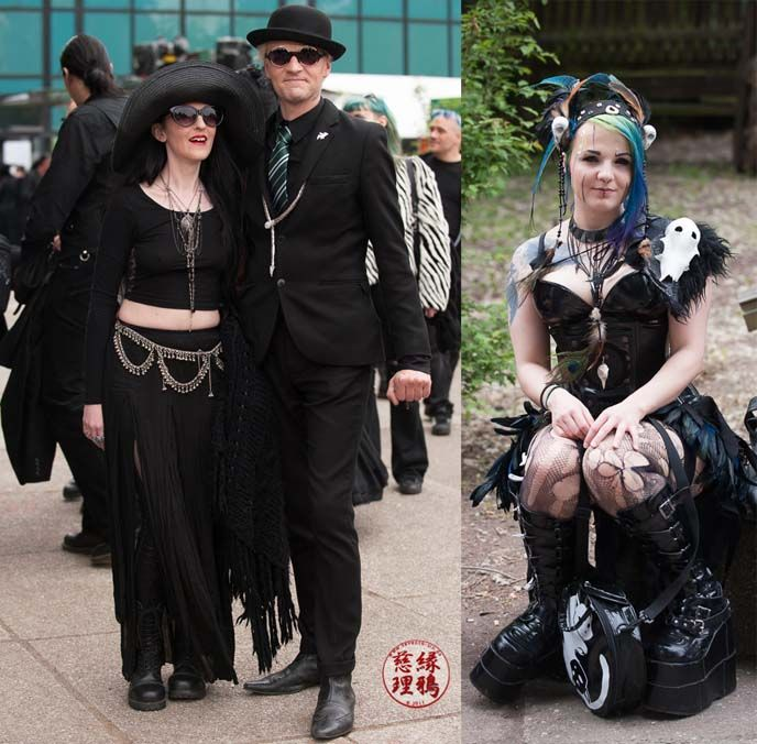 Fashion and style snaps of Goths at Wave Gotik Treffen festival, Leipzig. More Gothic inspiration style at http://www.lacarmina.com/blog/2015/07/wave-gothic-treffen-leipzig-steampunk-boots-goths/  cute goth girl, deathrock