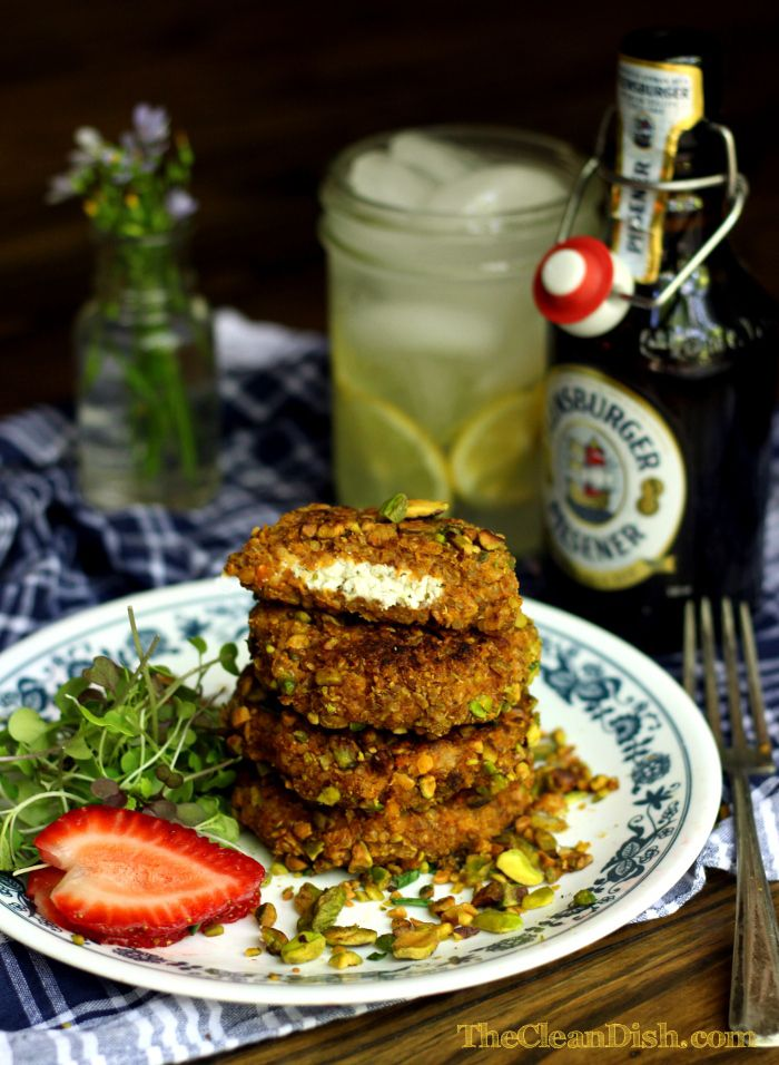 What! C to the R-A-Z-Y. Pistachio encrusted Quinoa Rissoles filled with Goats Cheese